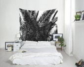 Palm Tree Tapestry, Tropical Decor, Palm Leaf Art, Summer Tapestry, Black And White, Tropical Wall Art