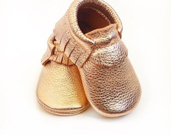 Rose Gold Baby Moccasins, Toddler Moccasins - Rose Gold Leather Kids Shoes, Crib Shoes, Infant Shoes, Baby Moccasins, Leather Moccs