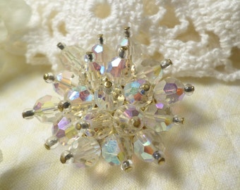 Vintage Gold Tone Aurora Borealis Crystal Faceted Beaded Brooch  DL#4034