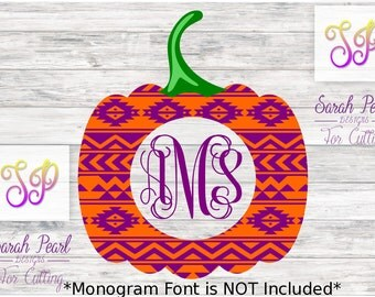 Aztec Pumpkin Monogram Circle Fall Halloween Layered Sarah Pearl SVG PNG Dxf Eps Silhouette Cricut Digital Download