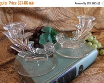 Fall CLEARANCE Sale Pair of Fostoria Elegant Glass Candlesticks - Baroque Pattern