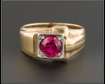 Vintage 10k Gold Ruby Ring | Synthetic Ruby Ring | 10k Gold Ring | Vintage Ring | Retro Ruby Ring | Men's Ruby Ring
