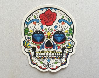 Day Of The Dead Sugar Skull Sticker, Dia De Los Muertos Sticker, Mexican Skull Laptop Sticker, MacBook Sticker