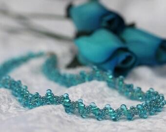 Aquamarine Textured Spiral Necklace