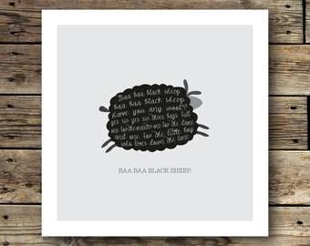 Printable Baa Baa Black Sheep Print