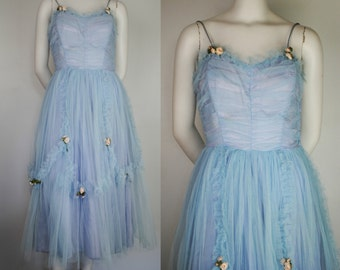 Vintage 50's Tulle Party Dress - 1950's Prom / Cupcake Dress - Medium / Large