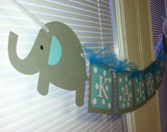 Elephant name banner, Elephant baby shower banner, Elephant name banner, Elephant happy birthday banner, elephant banner