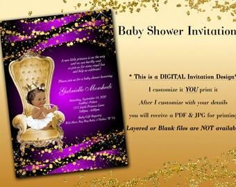 Baby shower invitation, Royal Baby Shower Invitations, Princess Baby Shower Invitations, Purple Baby Shower Invitations, Purple and Gold
