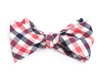 Blue & Pink Plaid Bow Tie