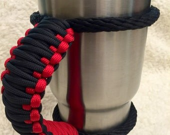 Paracord Ozark 40 oz Tumbler handle black and red