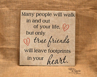 Best Friend Gift, True Friends leave footprints in your heart, Girlfriend Gift, Friendship Gift, Going Away Gift, Gift for friend, BFF Gift