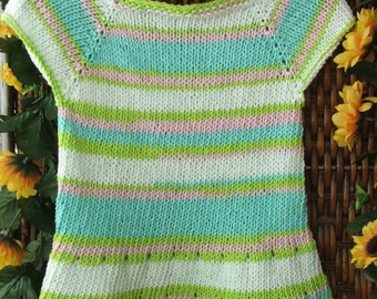Toddler tunic top, little girl cotton sweater, pastel spring knit top,  green, pink and blue knit top