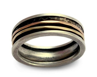Sterling silver spinner band, rose and yellow gold band, Men and Women band, durable ring, wedding band,two tones band, thin spinner ring