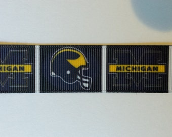 "Michigan  Wolverines 7/8"" Inspired Grosgrain Ribbon"