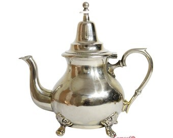 MOROCCAN VINTAGE TEAPOT in Silver Maillechort Handmade from Fez Morocco. Unique Rare Piece. Large (Ref. TP6)