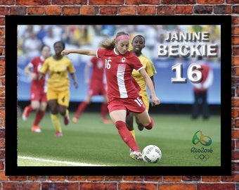 Women's World Cup Soccer   Janine Beckie Canada Poster   19 x 13 inches