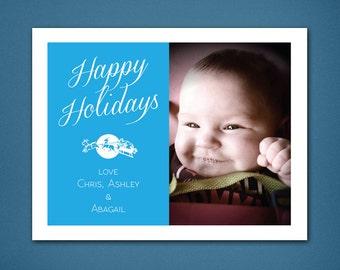 DIGITAL Happy Holidays Card • Christmas Card • Christmas • Holiday Cards • Happy Holiday Card • Digital • Blue • Photo Christmas Card