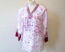 70s spidery dashiki top, women's dashiki, cotton boho top, loose boho dashiki, Small 10, hippie top, 416/321