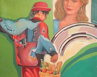 1991 Modernist portrait oil painting signed