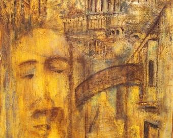 Surrealist figure landscape oil painting signed