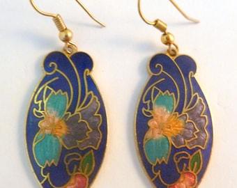 Vintage Cloisonne Enamel Blue Flower Drop Earrings.