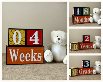 Primary Colors Baby Age Blocks, Baby Milestone Blocks, Baby Shower Gift, Baby Photo Prop, Weeks Months Years Grade Baby Wooden Blocks