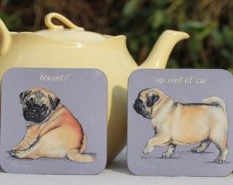 Pugs for your Mugs!.....A Set of four Pug coasters