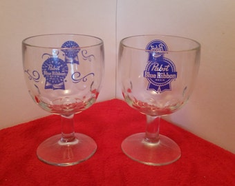 Vintage pair of pabst blue ribbon glasses / pabst blue ribbon footed glass goblets set of 2