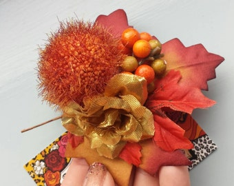Autumnal Rust pom pom hair flower