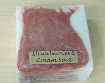 Strawberries and cream goat's milk glycerin soap