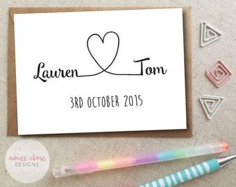 Personalised Wedding Love Heart Card - Mr & Mrs Wedding Date