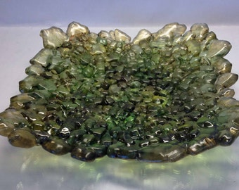 Transparent Greens with Brown Reclaimed/Repurposed Tempered Fused Glass Home Decor Tray