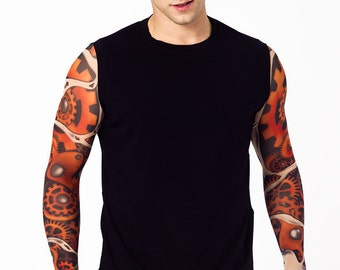 Mens Top with TIME FOR MACHINES (in color) Temporary Tattoo Sleeves, Mens Clothing, Long Sleeve Shirt, Futuristic Tattoo, Halloween Costume