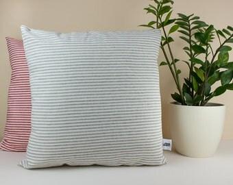 Gray minimalist pillow cover - Grey and White Stripe Linen Pillow Cover - Decorative throw pillow - Linen pillow shams