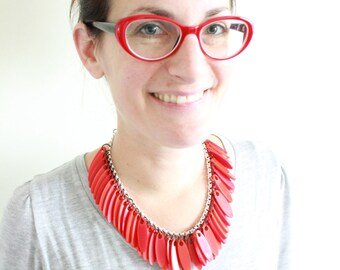 red plexiglas necklace