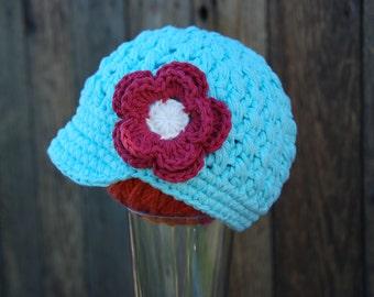 Sale!  baby girl hat, 12-24 months newsboy hat, girls newsboy hat, cotton beanie, newborn girl photo prop,  hat with flower,  ready to ship
