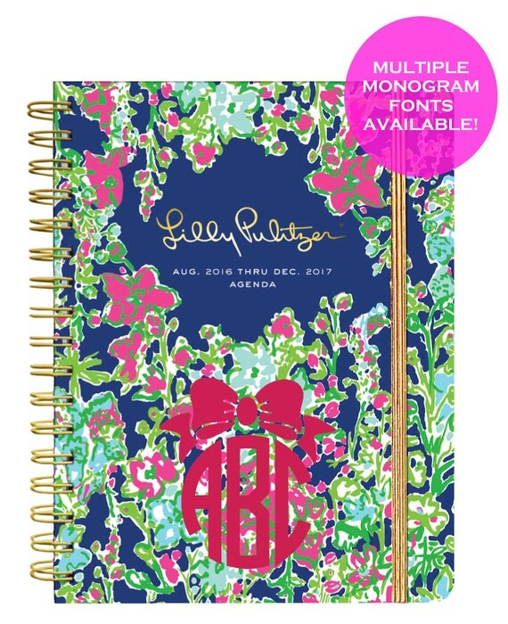 Monogrammed Lilly Pulitzer Large Agenda 2016-2017 - Southern Charm