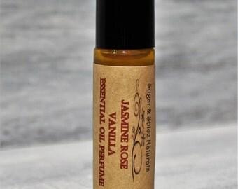 Jasmine Rose Vanilla Essential Oil Perfume Roll On All Natural Alcohol Free .33 oz. Roll On