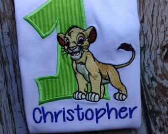 Custom embroidered Lion birthday shirt