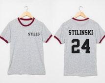 Stiles Stilinski Shirts Dylan O'Brien Shirt Women two sides Ringer Tshirt Size S M L XL - 3XL Grey with Black , Blue , Red