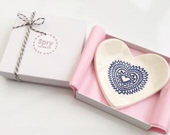 Ring Dish - Trinket Dish - Jewelry Dish - Ceramic Blue Heart