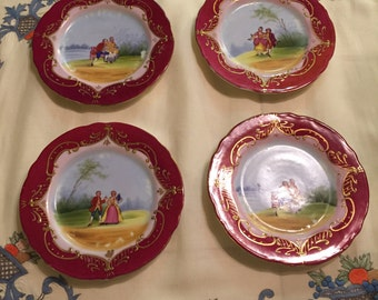 """Antique Set of 4 French Sevres Style Red & Gold Dessert Plates with Central Panels of Courting Couples! 6.5"""" W!"""