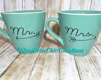 Mr. and Mrs. Coffee Mugs; Coffee Mugs; Coffee Cups;