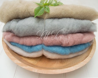 Set  A of 5 mini wool, Fluffy Wool, Posing blanket, Wool layer, Felt Basket Filler, Photography Prop, Feltfur,  RTS prop