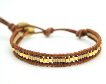 Brown and Gold Mix Single Wrap Bracelet