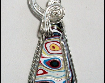 Original Fordite Pendant in Sterling Silver Wire