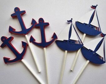 24 Nautical Cupcake Toppers - 2 Designs - Sailboat Cupcake Toppers - Anchor Cupcake Toppers