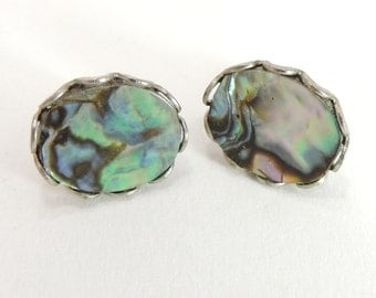 Vintage Jewelry Sterling Silver Abalone Shell Earrings