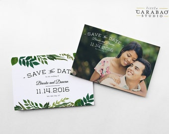 Save The Date Postcard Botanical Woodland Wedding Save The Date Post Card Greenery - 4x6 Wedding Announcement - Little Carabao Studio #EF101