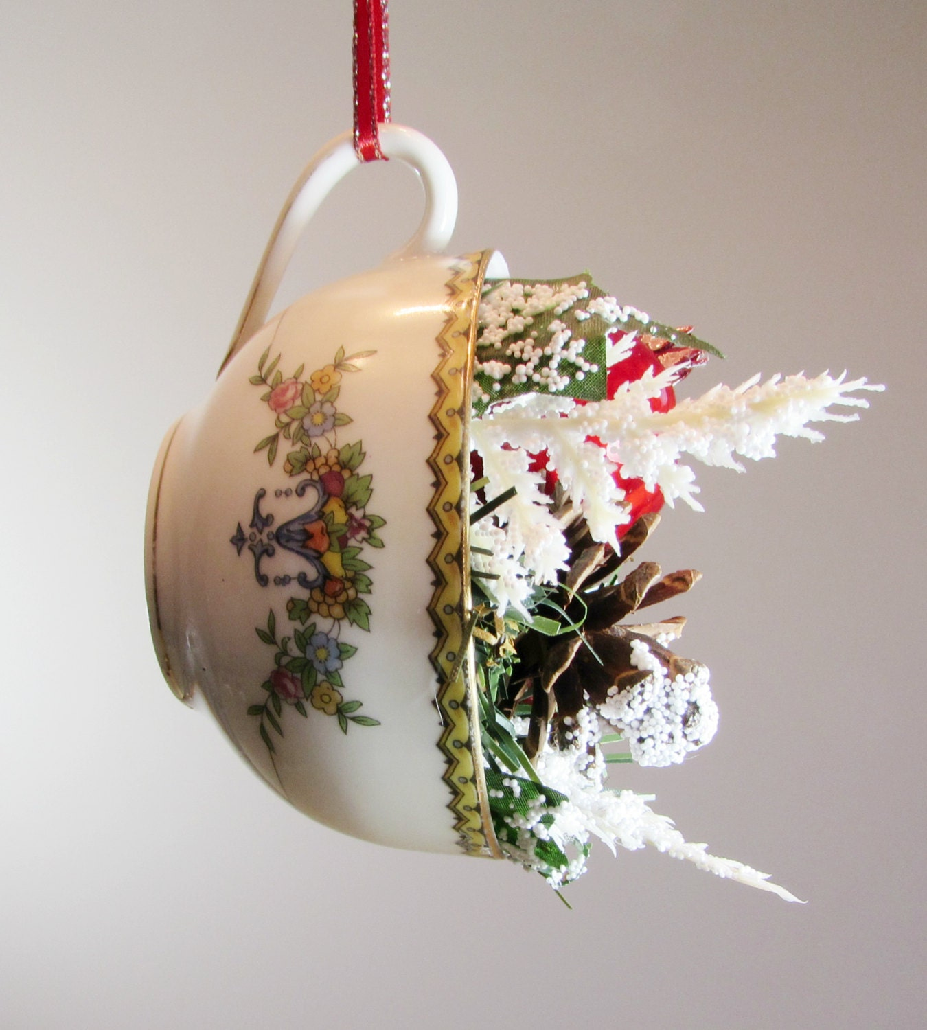 Tea Cup Christmas Ornament Upcycled Repurposed Vintage Tea Cup
